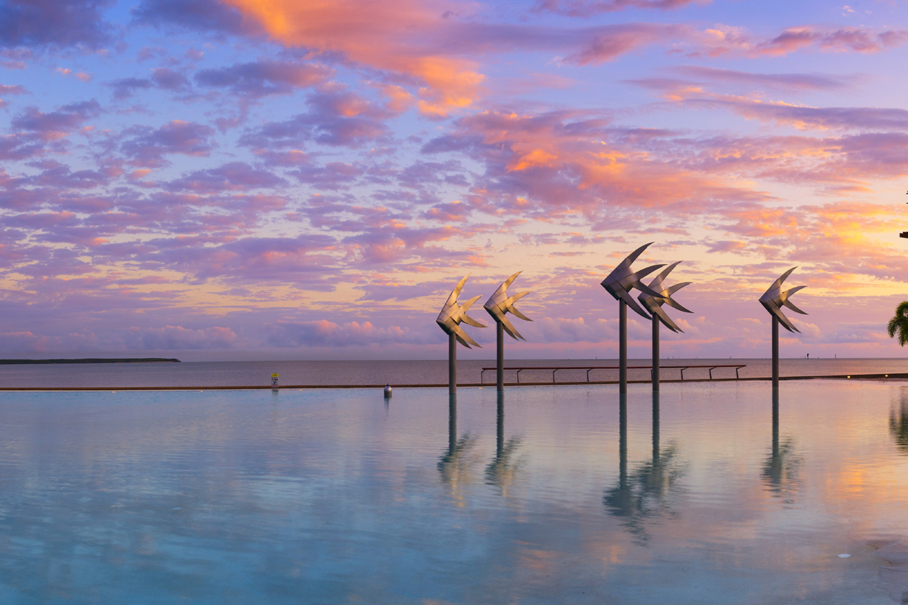 The Cairns Lagoon at sunrise in Tropical North Queensland